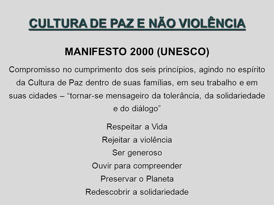 CULTURA DE PAZ E NÃO VIOLÊNCIA MANIFESTO 2000 (UNESCO) Compromisso no cumprimento dos seis princípios, agindo no espírito da Cultura de Paz dentro de