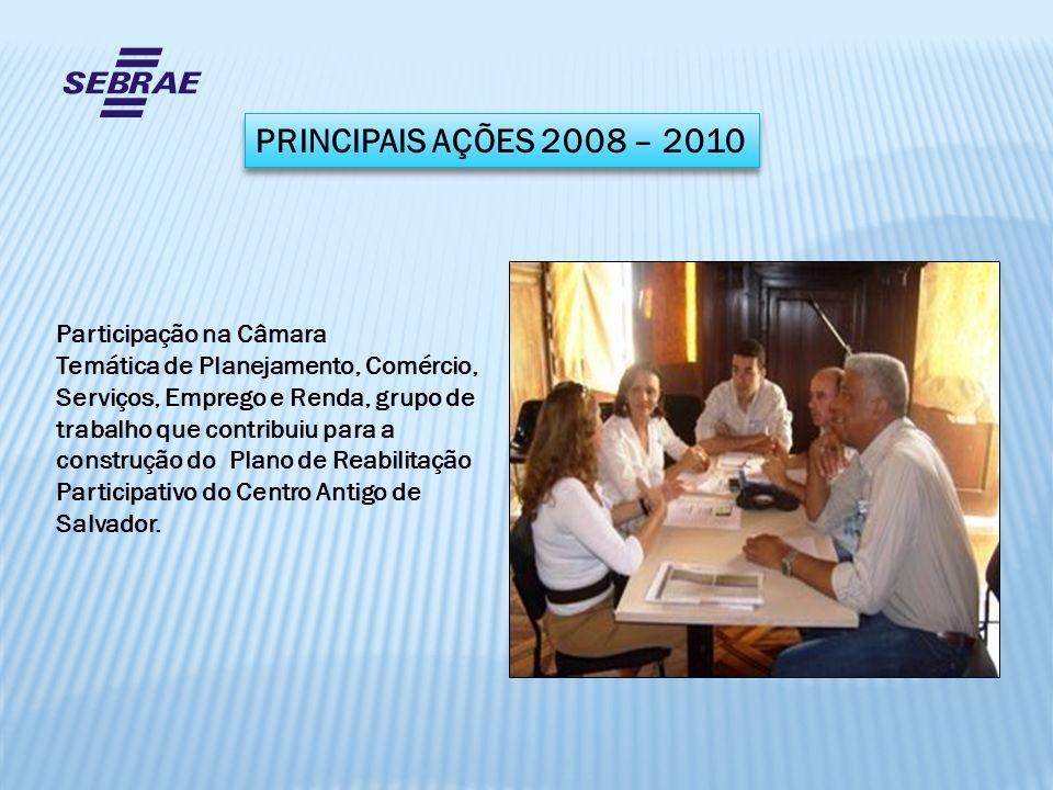 PRINCIPAIS AÇÕES 2008 – 2010 Participação na Câmara Temática de Planejamento, Comércio, Serviços, Emprego e Renda, grupo de trabalho que contribuiu pa