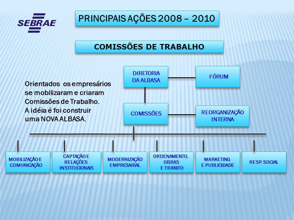 PRINCIPAIS AÇÕES 2008 – 2010 DIRETORIA DA ALBASA DIRETORIA DA ALBASA COMISSÕES MARKETING E PUBLICIDADE MARKETING E PUBLICIDADE MOBILIZAÇÃO E COMUNICAÇ
