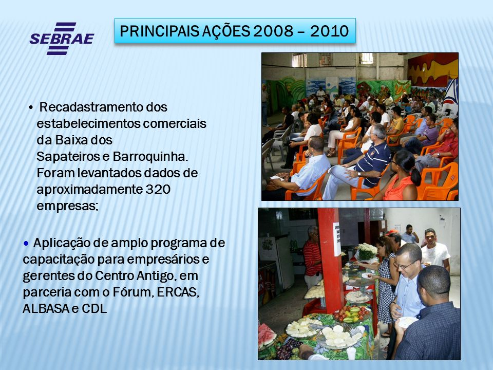 PRINCIPAIS AÇÕES 2008 – 2010 Reformulação do Estatuto Social da ALBASA, com consultoria Jurídica do SEBRAE, e formação de chapa eleitoral para nova diretoria.