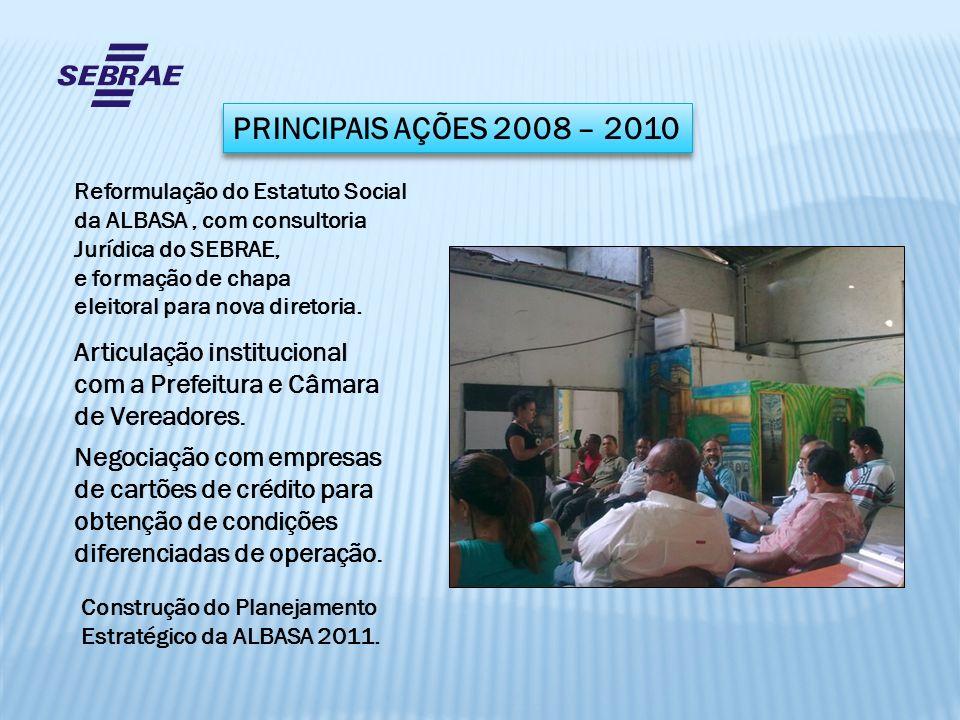 PRINCIPAIS AÇÕES 2008 – 2010 Reformulação do Estatuto Social da ALBASA, com consultoria Jurídica do SEBRAE, e formação de chapa eleitoral para nova di