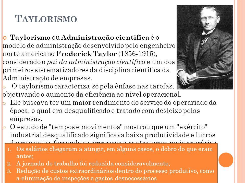 T AYLORISMO Taylorismo ou Administração científica é o modelo de administração desenvolvido pelo engenheiro norte americano Frederick Taylor (1856-191