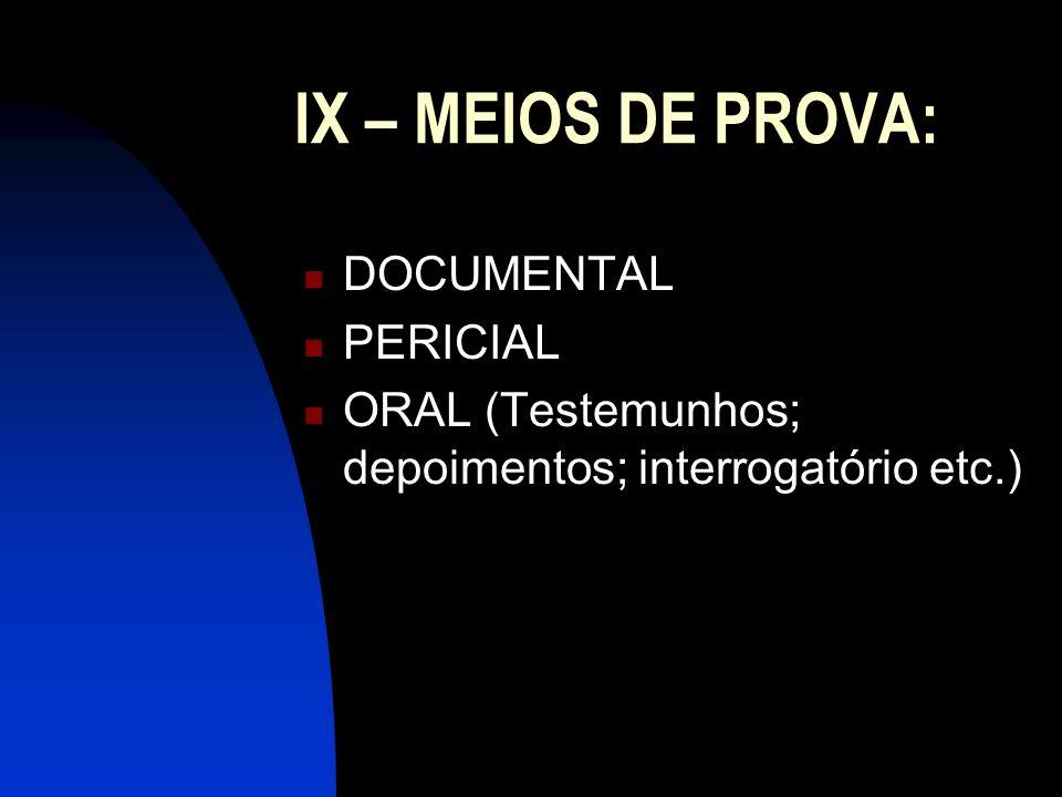 IX – MEIOS DE PROVA: DOCUMENTAL PERICIAL ORAL (Testemunhos; depoimentos; interrogatório etc.)