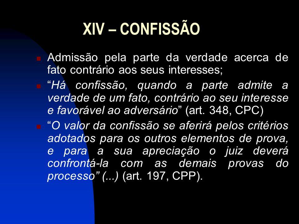 XIV – CONFISSÃO Admissão pela parte da verdade acerca de fato contrário aos seus interesses; Há confissão, quando a parte admite a verdade de um fato,