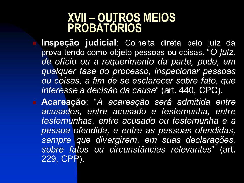 XVII – OUTROS MEIOS PROBATÓRIOS Inspeção judicial: Colheita direta pelo juiz da prova tendo como objeto pessoas ou coisas.O juiz, de ofício ou a reque
