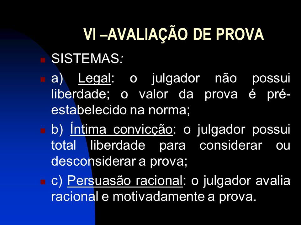 VI –AVALIAÇÃO DE PROVA SISTEMAS: a) Legal: o julgador não possui liberdade; o valor da prova é pré- estabelecido na norma; b) Íntima convicção: o julg
