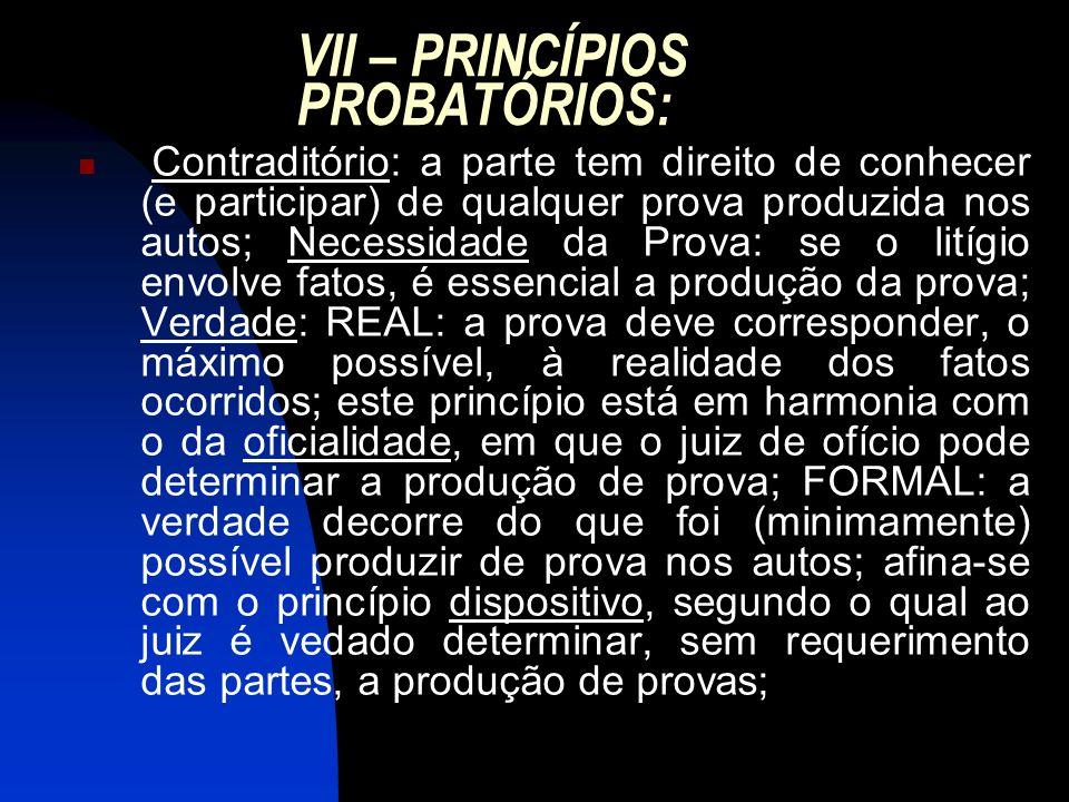 VII – PRINCÍPIOS PROBATÓRIOS: Contraditório: a parte tem direito de conhecer (e participar) de qualquer prova produzida nos autos; Necessidade da Prov