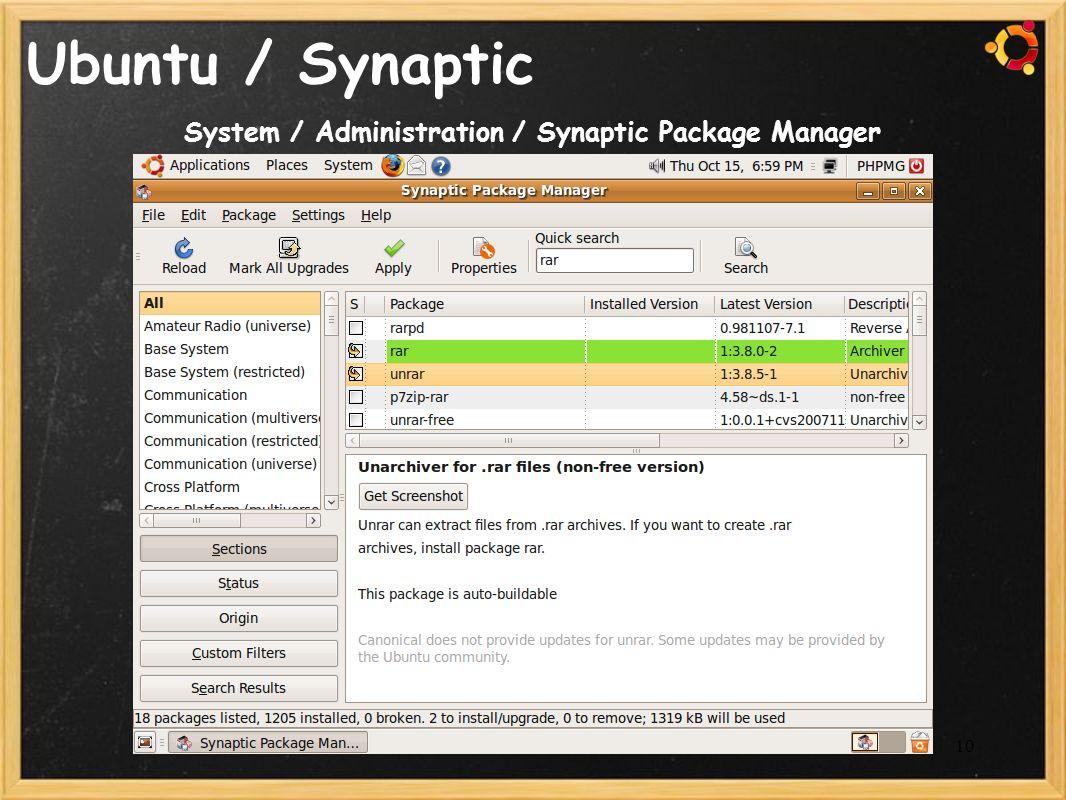 10 Ubuntu / Synaptic System / Administration / Synaptic Package Manager