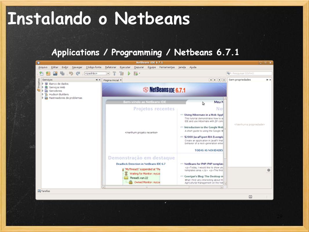 29 Instalando o Netbeans Applications / Programming / Netbeans 6.7.1