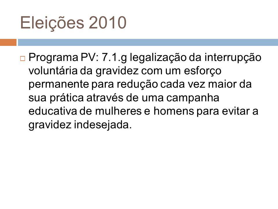 Programa PV: 7.1.g legalização da interrupção voluntária da gravidez com um esforço permanente para redução cada vez maior da sua prática através de u