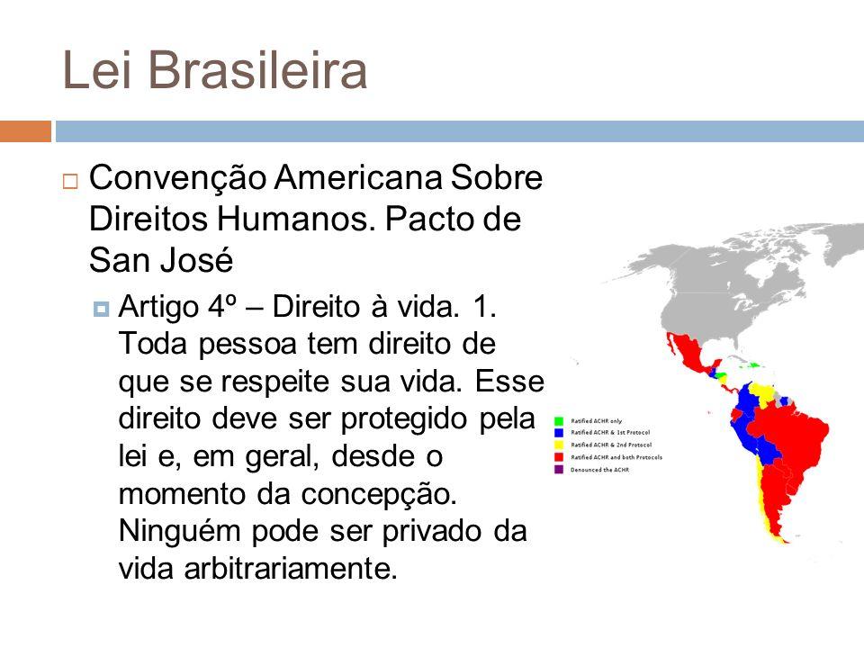 Lei Brasileira Convenção Americana Sobre Direitos Humanos. Pacto de San José Artigo 4º – Direito à vida. 1. Toda pessoa tem direito de que se respeite