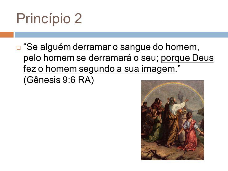 Princípio 2 Se alguém derramar o sangue do homem, pelo homem se derramará o seu; porque Deus fez o homem segundo a sua imagem. (Gênesis 9:6 RA)