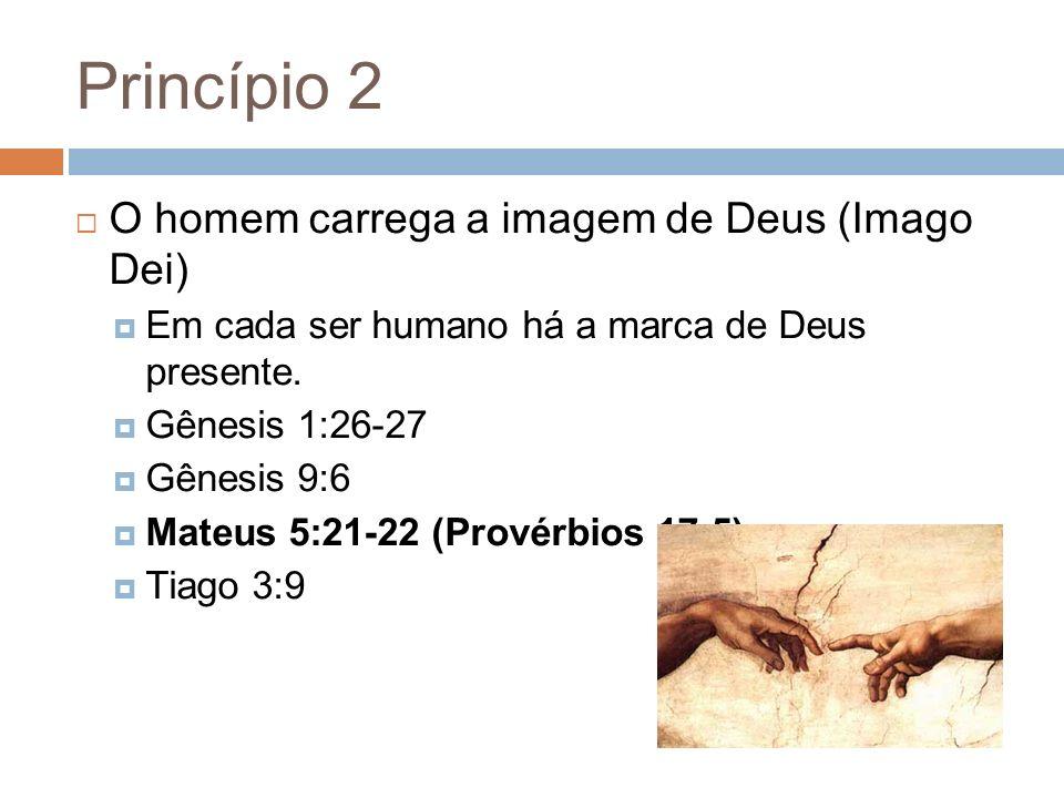 Princípio 2 O homem carrega a imagem de Deus (Imago Dei) Em cada ser humano há a marca de Deus presente. Gênesis 1:26-27 Gênesis 9:6 Mateus 5:21-22 (P