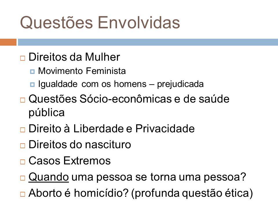 Questões Envolvidas Direitos da Mulher Movimento Feminista Igualdade com os homens – prejudicada Questões Sócio-econômicas e de saúde pública Direito