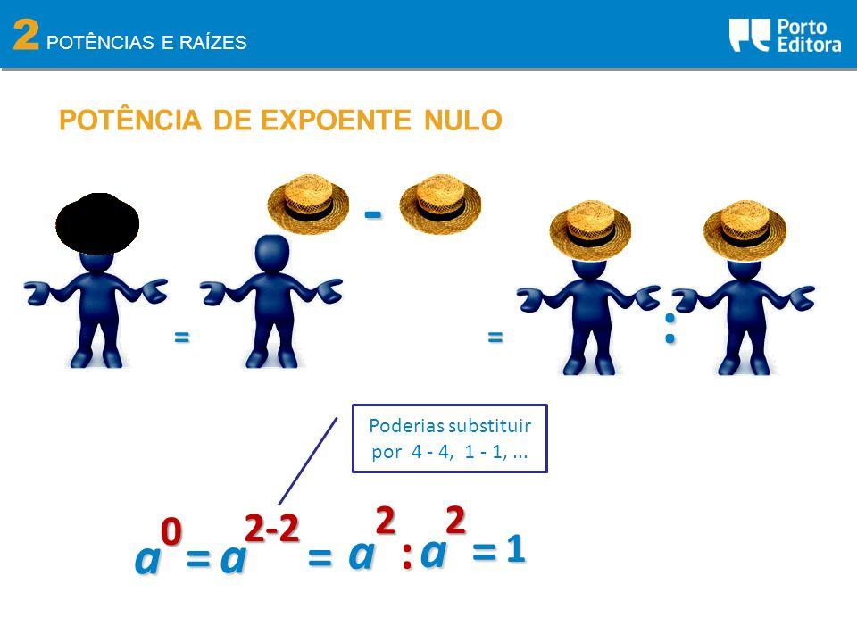 2 POTÊNCIAS E RAÍZES POTÊNCIA DE EXPOENTE NULO0 a = = - = :2-2 2 a : 2 a = Poderias substituir por 4 - 4, 1 - 1,... 1