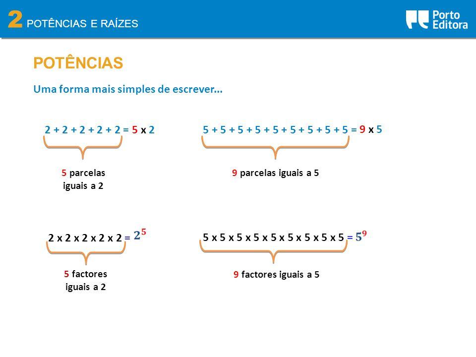 2 POTÊNCIAS 2 + 2 + 2 + 2 + 2 = Uma forma mais simples de escrever... 5 parcelas iguais a 2 5 x 25 + 5 + 5 + 5 + 5 + 5 + 5 + 5 + 5 = 9 parcelas iguais