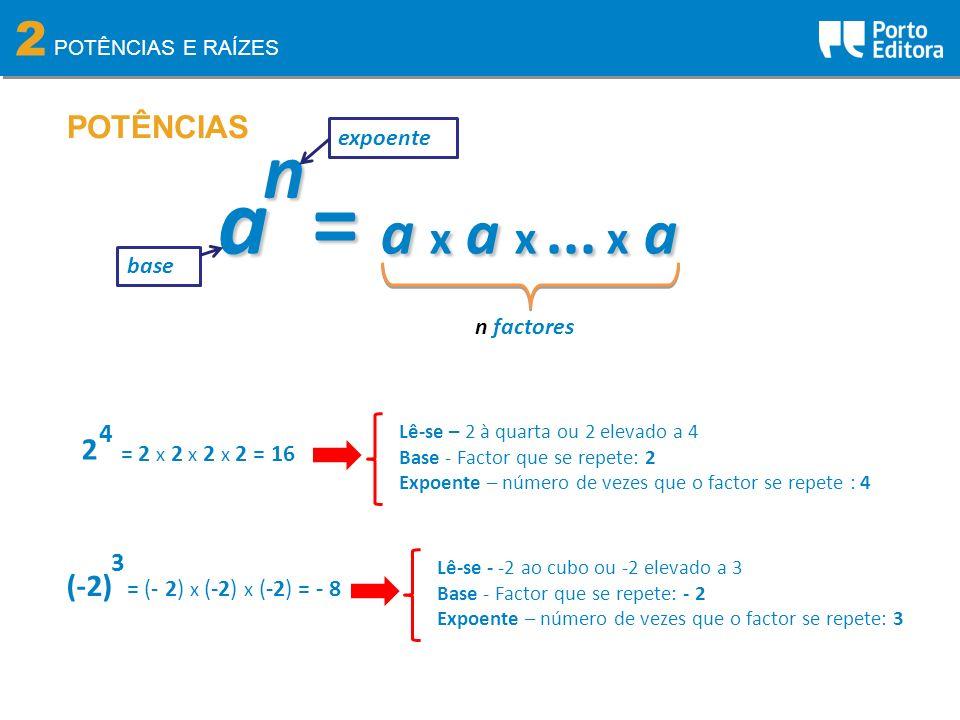 2 POTÊNCIAS E RAÍZES POTÊNCIASn a = a x a x... x a n factores base expoente 2 4 = 2 x 2 x 2 x 2 = 16 (-2) 3 Lê-se - -2 ao cubo ou -2 elevado a 3 Base