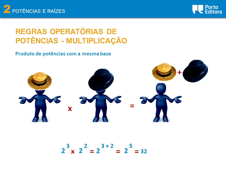 2 POTÊNCIAS E RAÍZES REGRAS OPERATÓRIAS DE POTÊNCIAS - MULTIPLICAÇÃO Produto de potências com a mesma base x = + 2 3 2 2 x = 2 3 + 2 2 5 = = 32