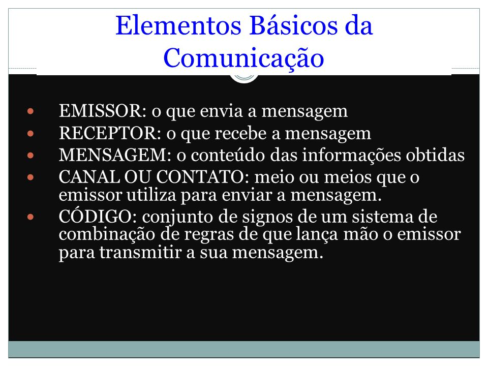 Elementos Básicos da Comunicação EMISSOR: o que envia a mensagem RECEPTOR: o que recebe a mensagem MENSAGEM: o conteúdo das informações obtidas CANAL