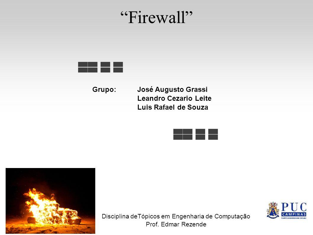 Firewall Grupo: José Augusto Grassi Leandro Cezario Leite Luis Rafael de Souza Disciplina deTópicos em Engenharia de Computação Prof. Edmar Rezende