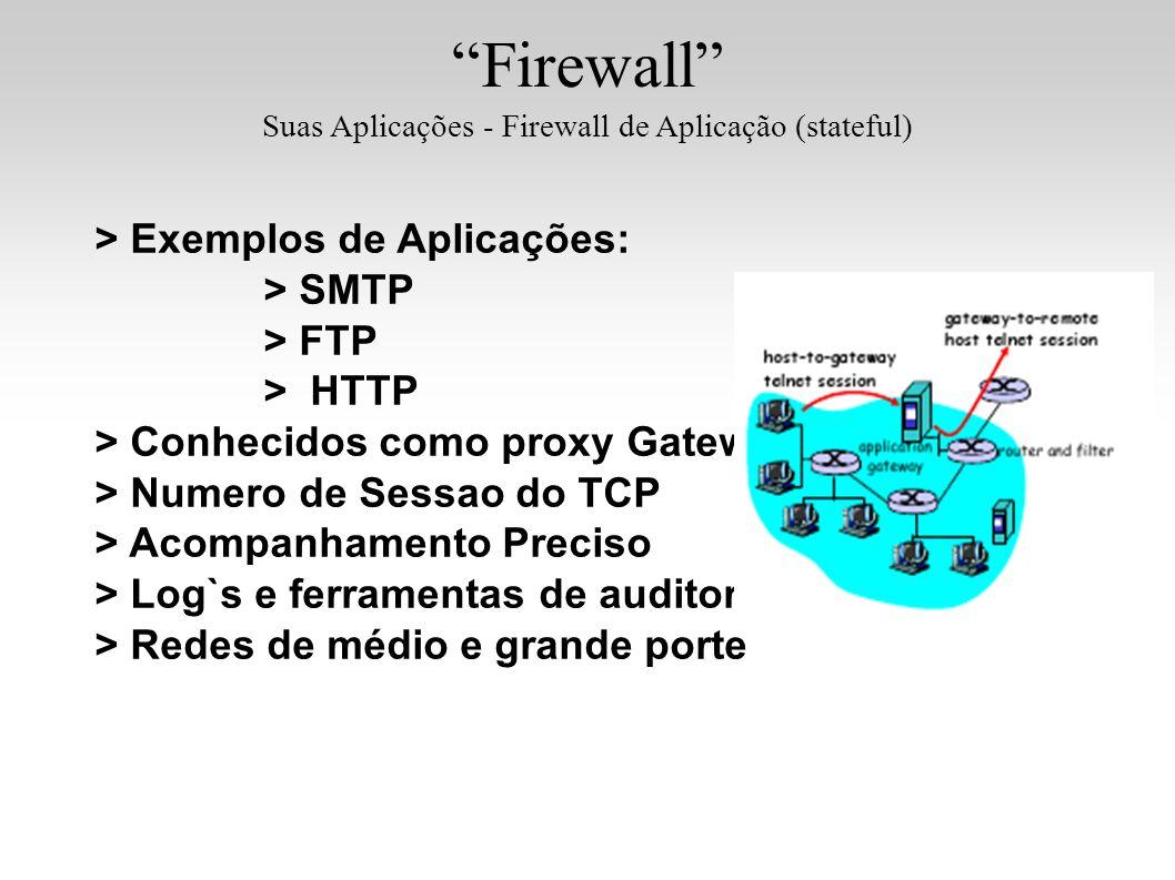 Firewall Suas Aplicações - Firewall de Aplicação (stateful) > Exemplos de Aplicações: > SMTP > FTP > HTTP > Conhecidos como proxy Gateway > Numero de