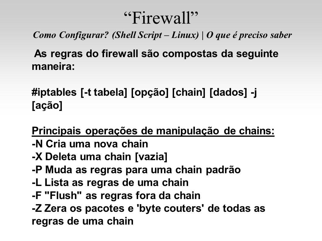 Firewall Como Configurar? (Shell Script – Linux)   O que é preciso saber As regras do firewall são compostas da seguinte maneira: #iptables [-t tabela
