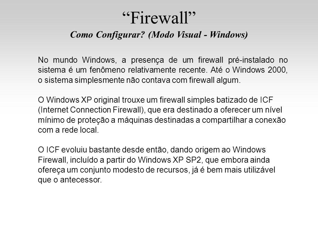 Firewall Como Configurar? (Modo Visual - Windows) No mundo Windows, a presença de um firewall pré-instalado no sistema é um fenômeno relativamente rec