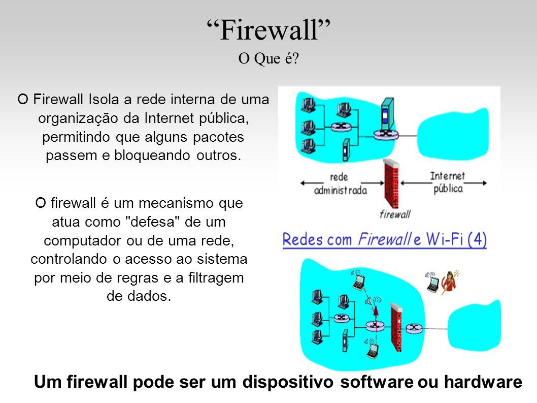 Firewall O Que é? O Firewall Isola a rede interna de uma organização da Internet pública, permitindo que alguns pacotes passem e bloqueando outros. O