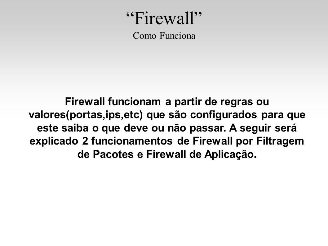 Firewall Como Funciona Firewall funcionam a partir de regras ou valores(portas,ips,etc) que são configurados para que este saiba o que deve ou não pas