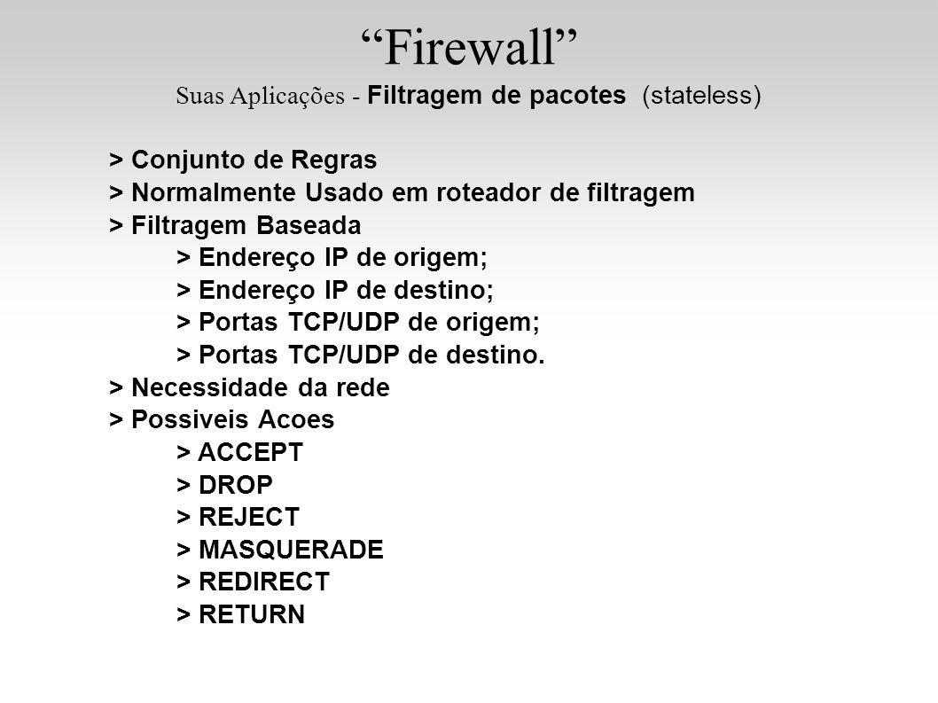 Firewall Suas Aplicações - Filtragem de pacotes (stateless) > Conjunto de Regras > Normalmente Usado em roteador de filtragem > Filtragem Baseada > En