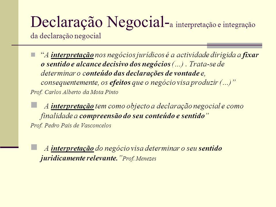Declaração Negocial- a interpretação e integração da declaração negocial A interpretação nos negócios jurídicos é a actividade dirigida a fixar o sent
