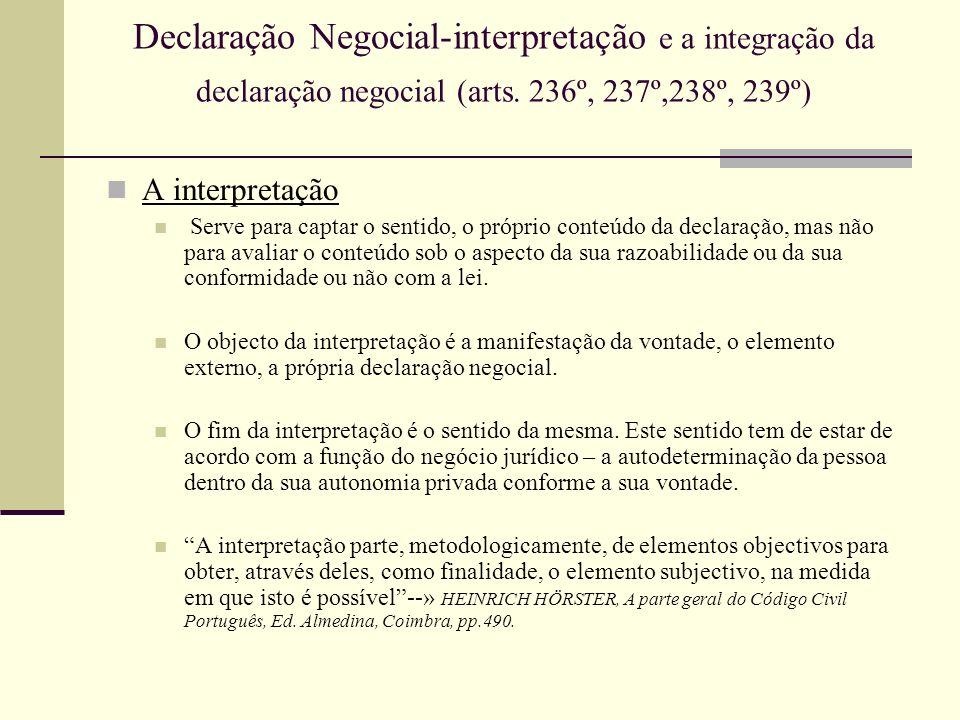 Declaração Negocial-interpretação e a integração da declaração negocial (arts. 236º, 237º,238º, 239º) A interpretação Serve para captar o sentido, o p