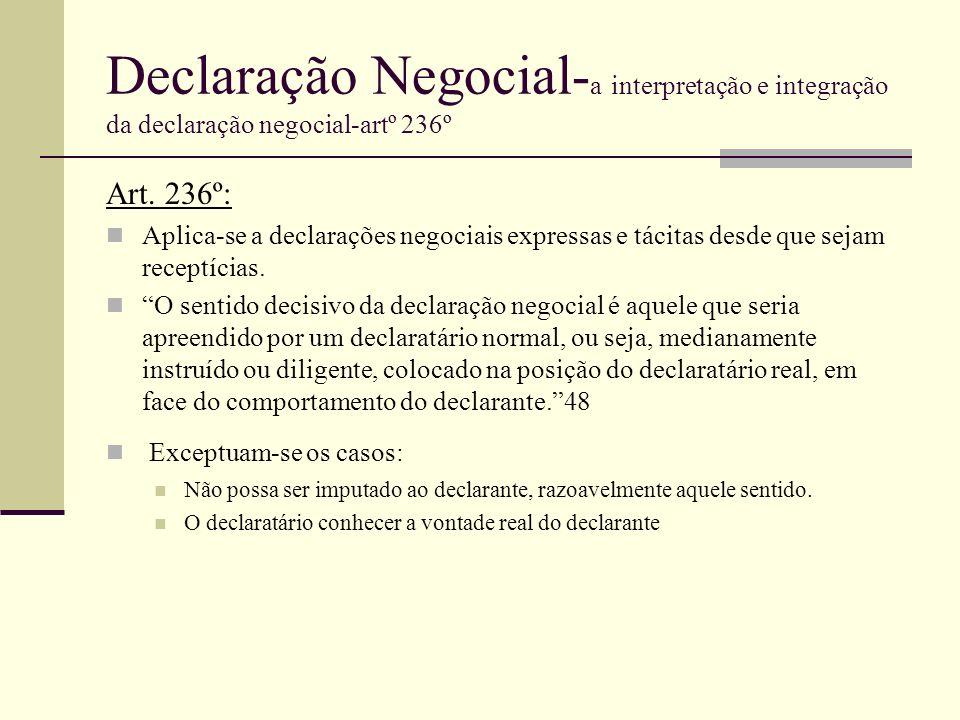 Declaração Negocial- a interpretação e integração da declaração negocial-artº 236º Art. 236º: Aplica-se a declarações negociais expressas e tácitas de
