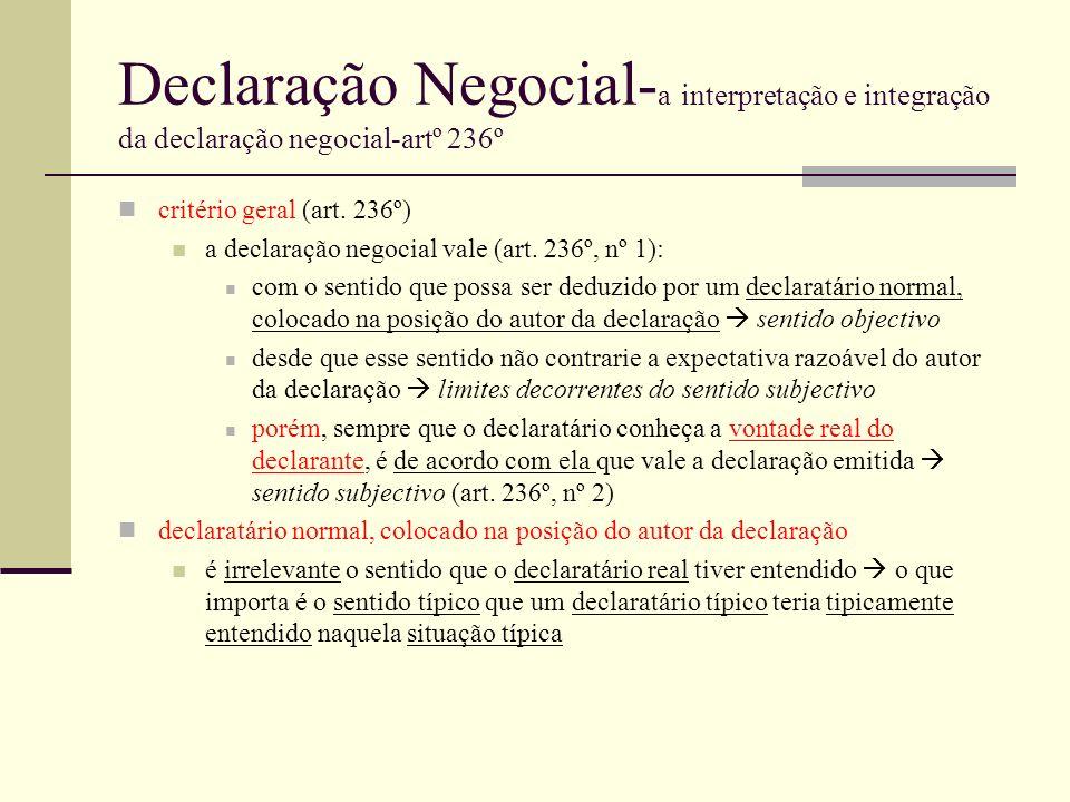 Declaração Negocial- a interpretação e integração da declaração negocial-artº 236º critério geral (art. 236º) a declaração negocial vale (art. 236º, n
