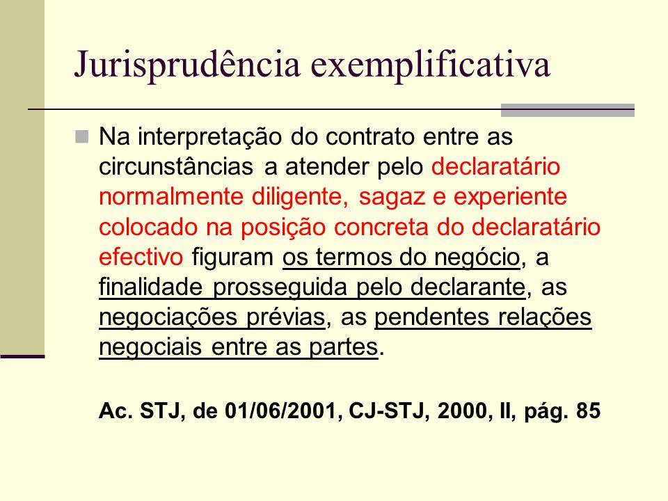 Jurisprudência exemplificativa Na interpretação do contrato entre as circunstâncias a atender pelo declaratário normalmente diligente, sagaz e experie
