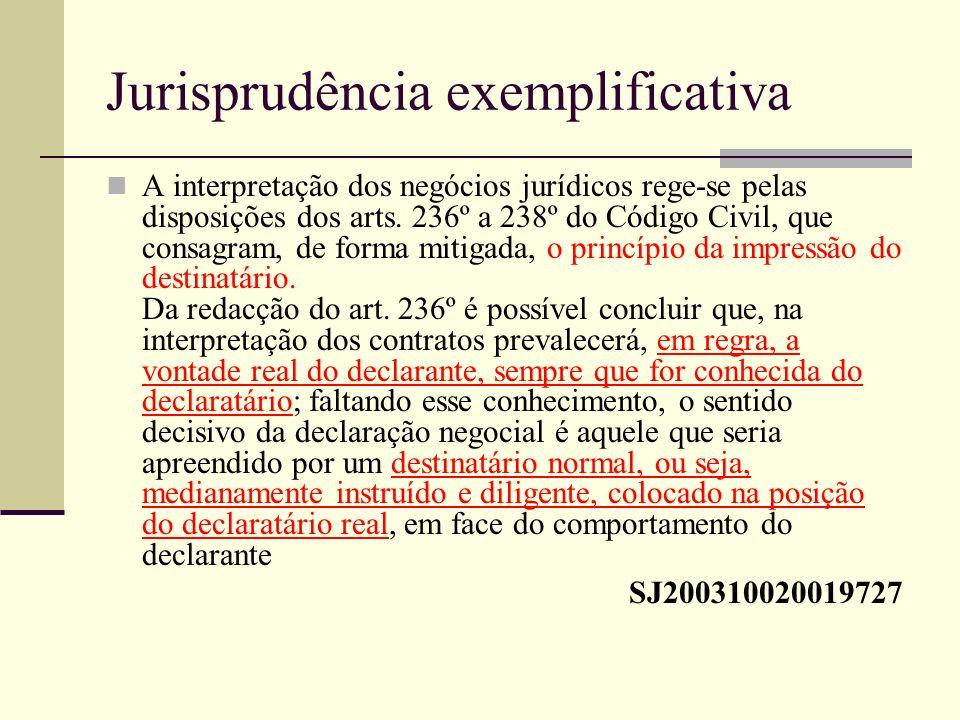Jurisprudência exemplificativa A interpretação dos negócios jurídicos rege-se pelas disposições dos arts. 236º a 238º do Código Civil, que consagram,