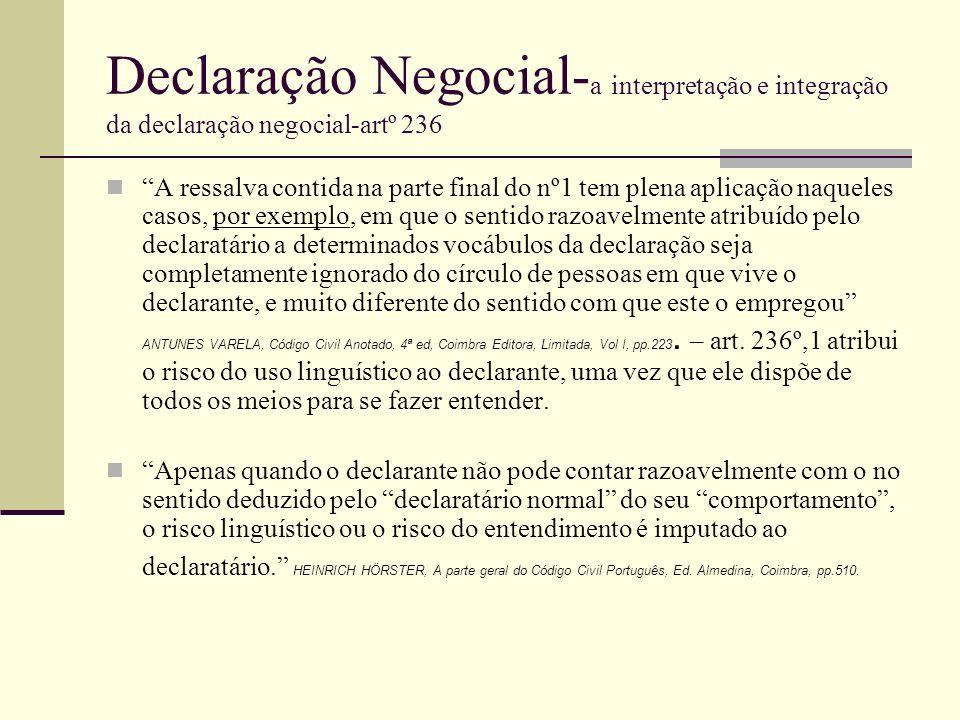Declaração Negocial- a interpretação e integração da declaração negocial-artº 236 A ressalva contida na parte final do nº1 tem plena aplicação naquele