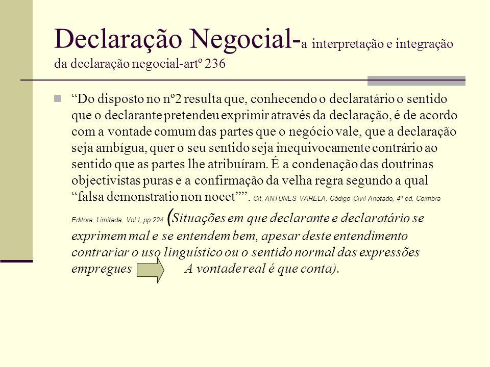 Declaração Negocial- a interpretação e integração da declaração negocial-artº 236 Do disposto no nº2 resulta que, conhecendo o declaratário o sentido