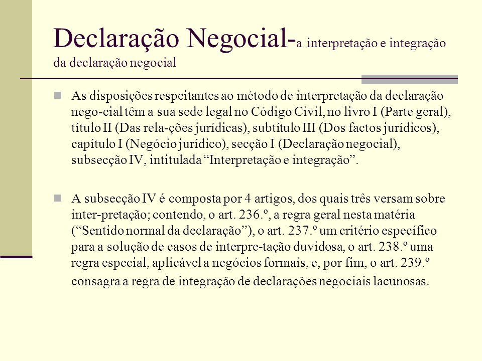 Declaração Negocial- a interpretação e integração da declaração negocial As disposições respeitantes ao método de interpretação da declaração nego-cia