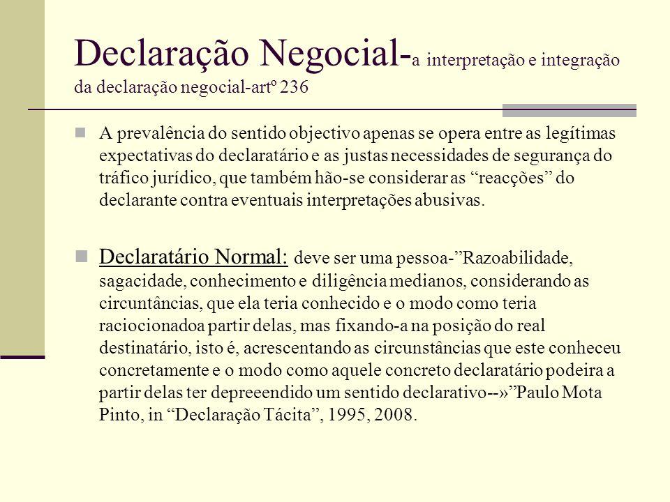 Declaração Negocial- a interpretação e integração da declaração negocial-artº 236 A prevalência do sentido objectivo apenas se opera entre as legítima
