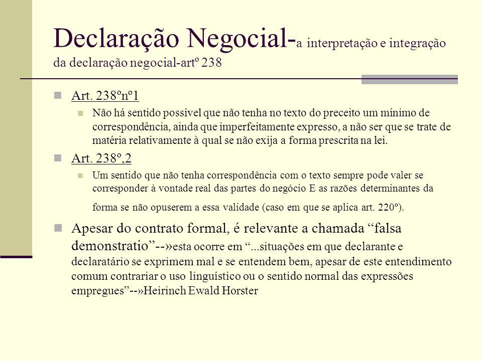 Declaração Negocial- a interpretação e integração da declaração negocial-artº 238 Art. 238ºnº1 Não há sentido possível que não tenha no texto do prece