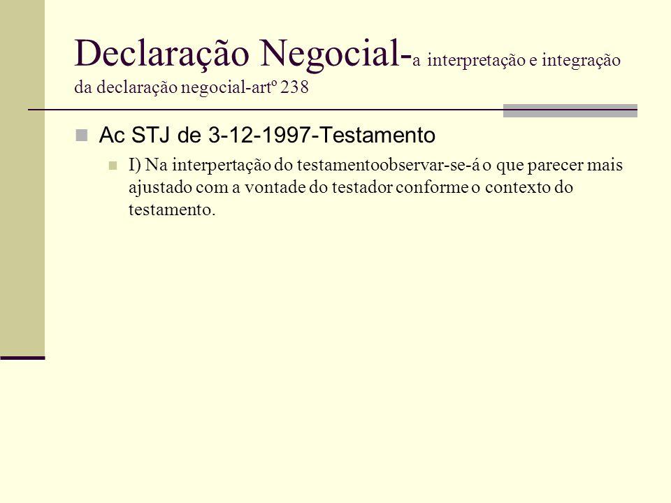 Declaração Negocial- a interpretação e integração da declaração negocial-artº 238 Ac STJ de 3-12-1997-Testamento I) Na interpertação do testamentoobse