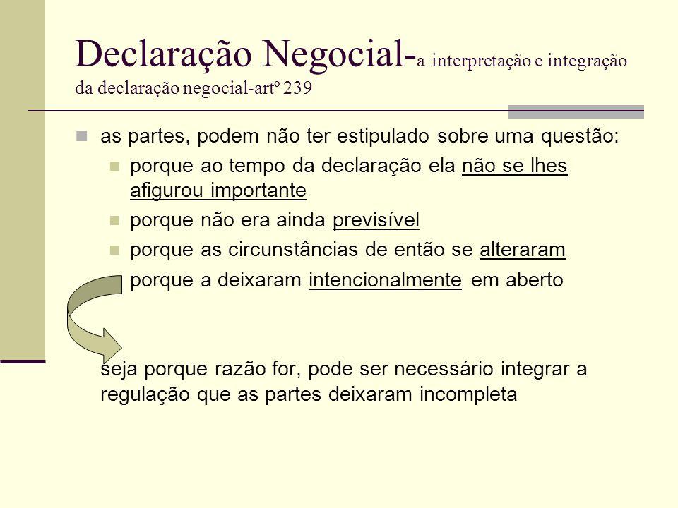 Declaração Negocial- a interpretação e integração da declaração negocial-artº 239 as partes, podem não ter estipulado sobre uma questão: porque ao tem