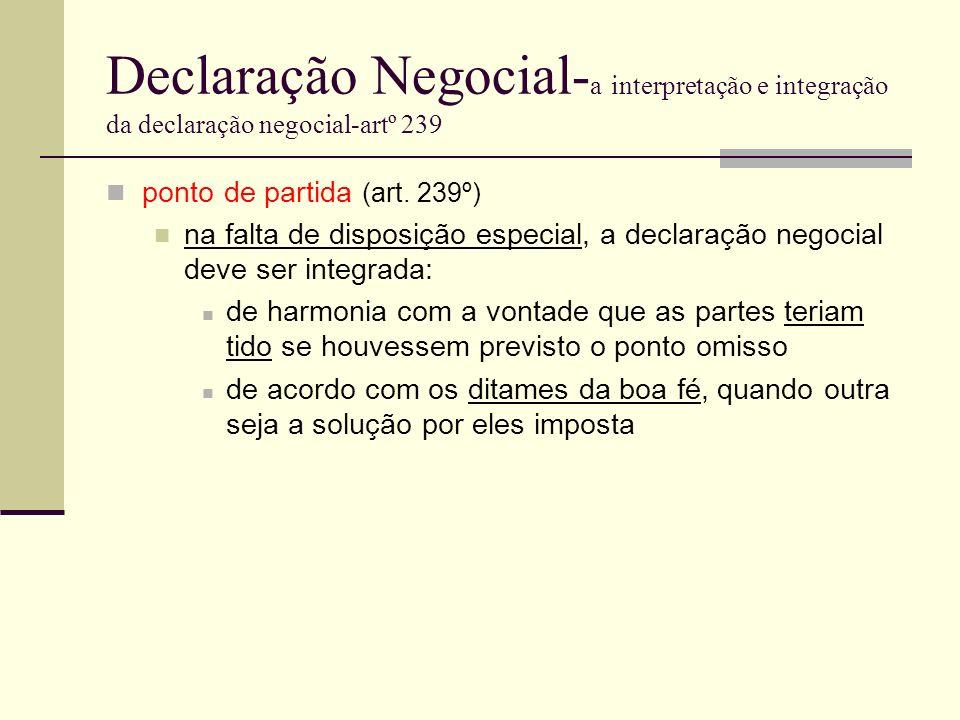 Declaração Negocial- a interpretação e integração da declaração negocial-artº 239 ponto de partida (art. 239º) na falta de disposição especial, a decl