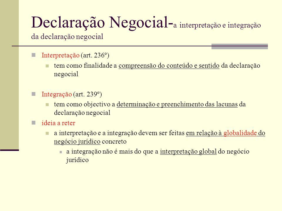 Declaração Negocial- a interpretação e integração da declaração negocial Interpretação (art. 236º) tem como finalidade a compreensão do conteúdo e sen