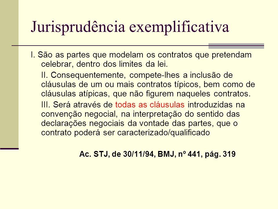 Jurisprudência exemplificativa I. São as partes que modelam os contratos que pretendam celebrar, dentro dos limites da lei. II. Consequentemente, comp