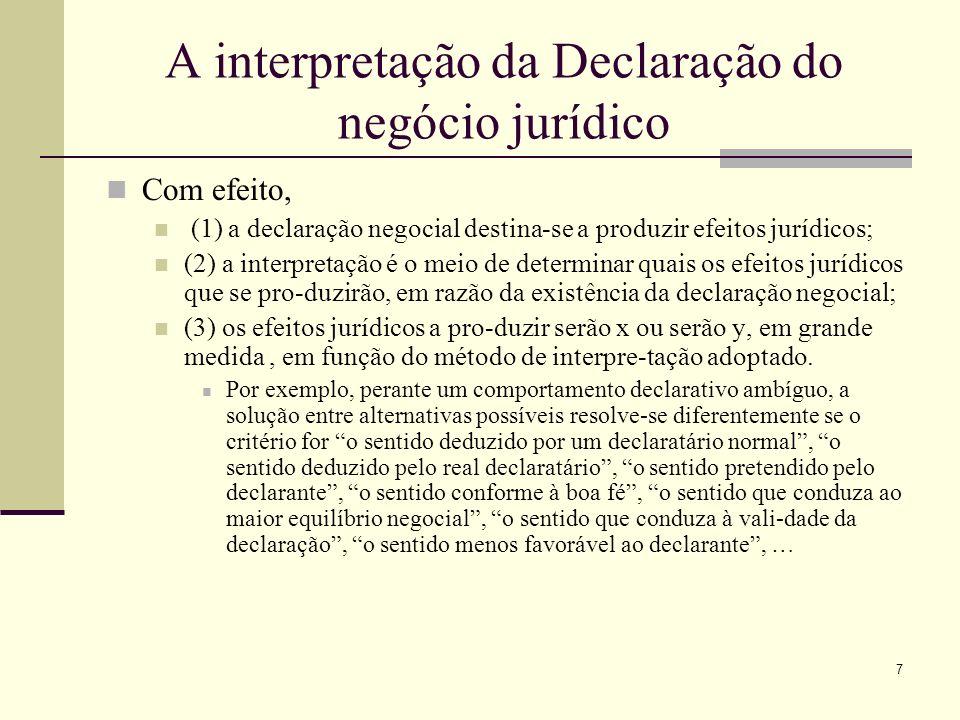 7 A interpretação da Declaração do negócio jurídico Com efeito, (1) a declaração negocial destina-se a produzir efeitos jurídicos; (2) a interpretação