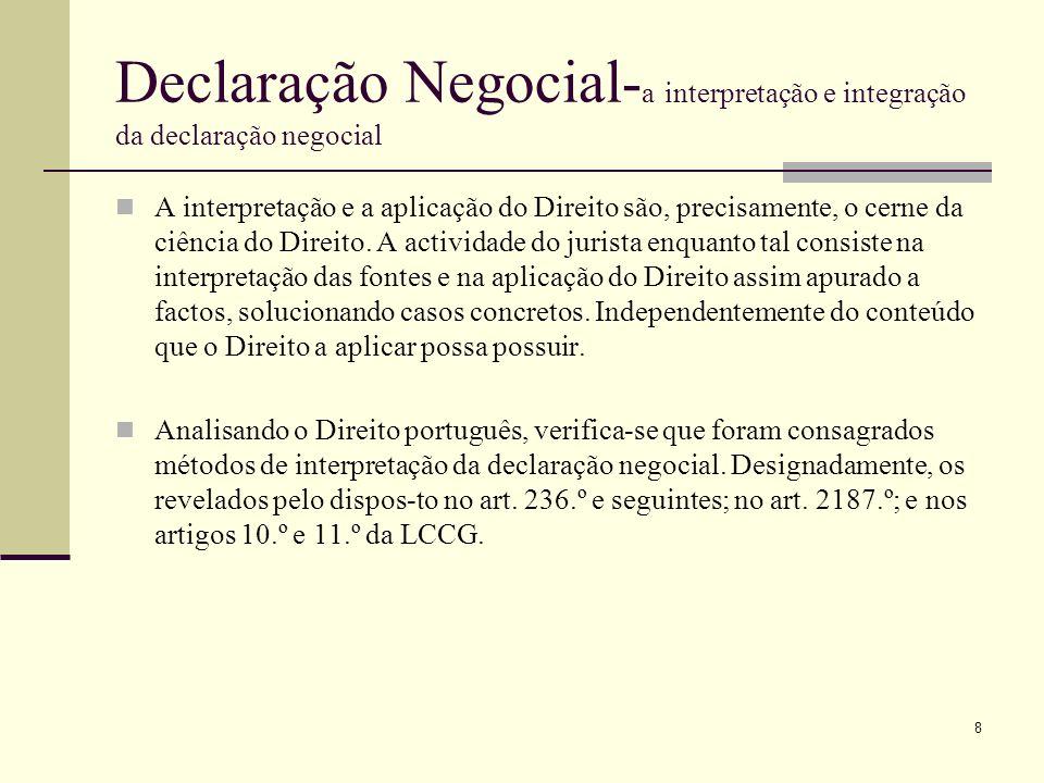 Declaração Negocial- a interpretação e integração da declaração negocial-artº 239 A integração da declaração negocial Se a declaração negocial não apresentar um sentido obscuro ou equívoco mas lacunas, em princípio desconhecidas das partes, aplicar-se-á na falta de disposição especial as regras constantes no art.