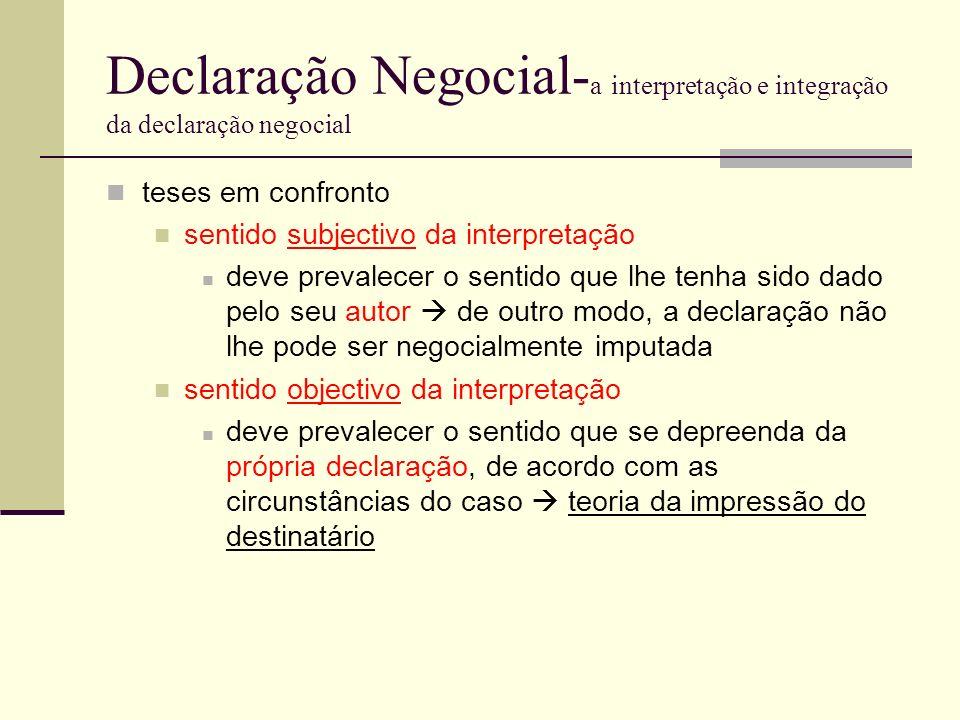 Declaração Negocial- a interpretação e integração da declaração negocial teses em confronto sentido subjectivo da interpretação deve prevalecer o sent