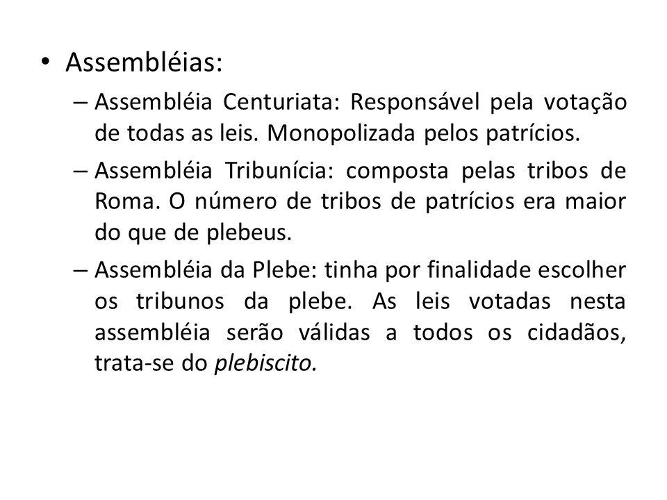 Assembléias: – Assembléia Centuriata: Responsável pela votação de todas as leis. Monopolizada pelos patrícios. – Assembléia Tribunícia: composta pelas